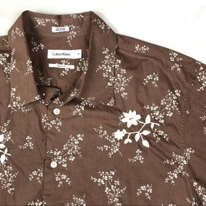 Calvin Klein Brown & Off White Floral Button Up XL